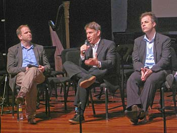 VOX roundtable discussion, Stephen Schwartz sits between composers Jonathan Dawe and Yoav Gal