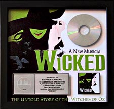 Wicked Cast Album Platinum Plaque presented to Stephen Schwartz